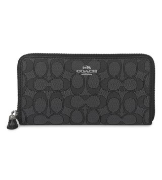 Coach Black Accordion Zip Jacquard Wallet