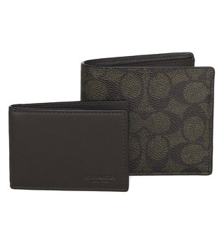 Coach Signature Canvas Wallet with Compact ID Window