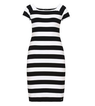 Armani Exchange Black & White Striped Dress