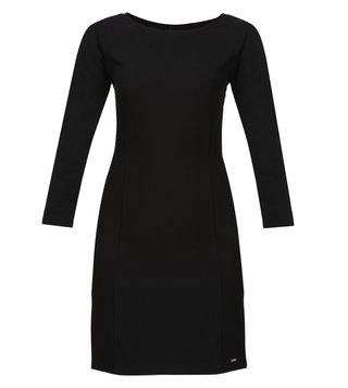 Armani Exchange Black Three Quarter Sleeves Dress