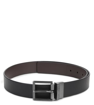Armani Exchange Black & Dark Chocolate Reversible Belt
