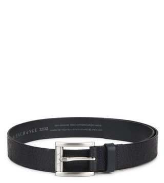 Armani Exchange Navy Stamp Leather Buckle Belt
