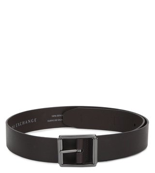 Armani Exchange Dark Chocolate Leather Buckle Belt