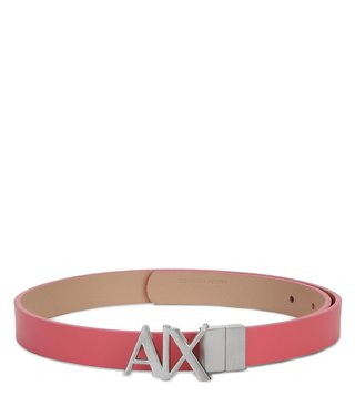 Armani Exchange Soft Coral & Nude Reversible Hinge Belt