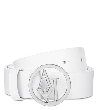 Armani Jeans Bianco Leather Logo Belt
