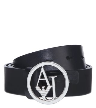 Armani Jeans Dark Navy Leather Logo Belt