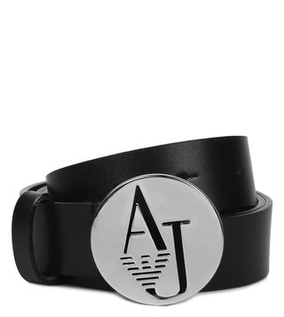 Armani Jeans Nero Leather Logo Belt