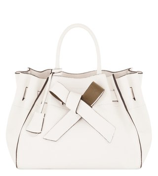 Coccinelle Clotilde Nastro Bianco Leather Satchel Bag