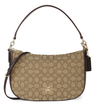 Coach Brown Jacquard Sig Chelsea Crossbody Bag