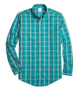 Brooks Brothers NI Reg Green Signature Tartan Sport Shirt