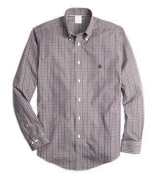 Brooks Brothers Non-Iron Reg Navy & Brown Checks Sport Shirt