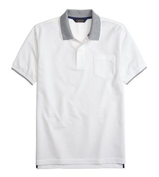 Brooks Brothers White Supima Cotton Polo T-Shirt