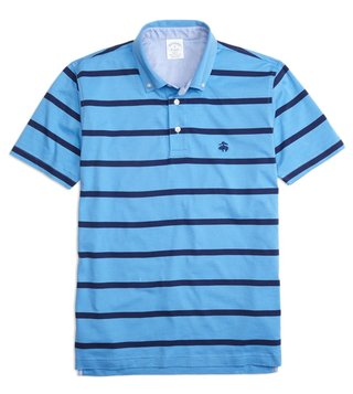 Brooks Brothers Blue Supima Striped BDC Polo T-Shirt
