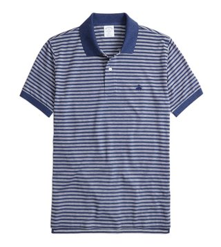Brooks Brothers Navy Slim Fit Oxford Striped Polo T-Shirt