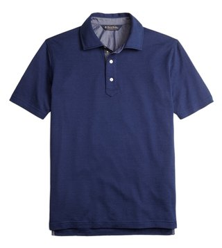 Brooks Brothers Indigo Slim Vintage Jacquard Polo T-Shirt
