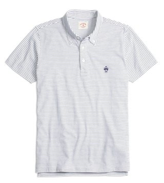Brooks Brothers Red Fleece White Feeder Jersey Polo T-Shirt
