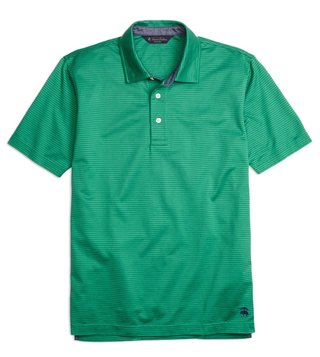 Brooks Brothers Green Slim Fit Jacquard Striped Polo T-Shirt