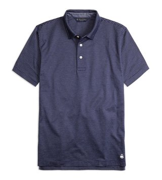 Brooks Brothers Navy Slim Fit Jacquard Striped Polo T-Shirt