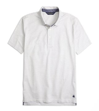 Brooks Brothers White Slim Fit Jacquard Striped Polo T-Shirt