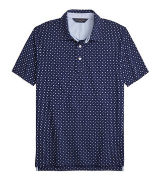 Brooks Brothers Navy Mini Floral Print Pique Polo T-Shirt