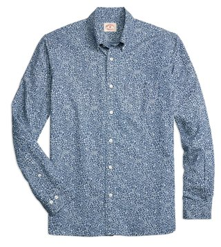 Brooks Brothers Red Fleece Chambray Ditsy Print Sport Shirt