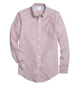 Brooks Brothers Non-Iron Reg Red Striped Sport Shirt