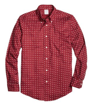 Brooks Brothers Reg Red Paisley Print Sport Shirt