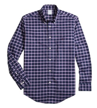 Brooks Brothers Non-Iron Reg Navy Windowpane Sport Shirt