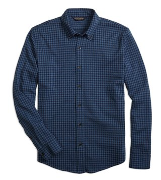 Brooks Brothers Navy Knit Gingham Button Down Shirt