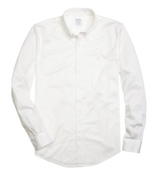 Brooks Brothers White Supima Cotton Button Down Knit Shirt
