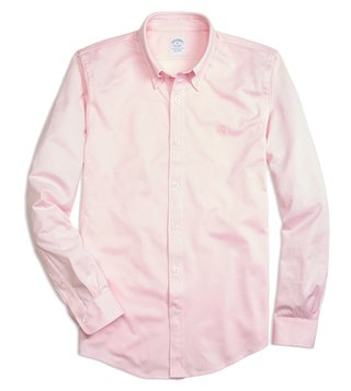 Brooks Brothers Pink Supima Cotton Button Down Knit Shirt