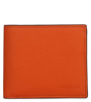 Coach Vintage Orange Crossgrain Compact Id Wallet