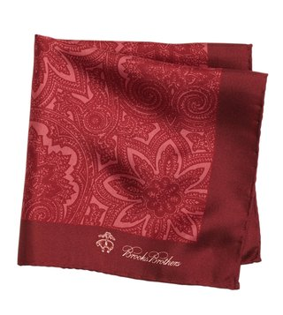 Brooks Brothers Maroon Printed Pocket Square