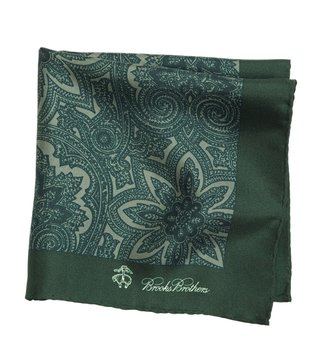 Brooks Brothers Green Printed Pocket Square