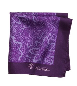 Brooks Brothers Purple Printed Pocket Square