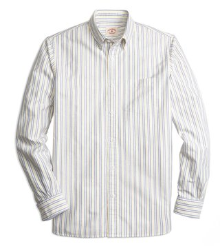 Brooks Brothers Red Fleece Yellow Striped Oxford Sport Shirt