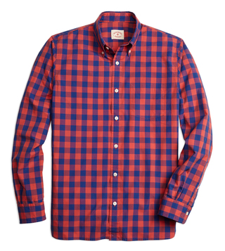 Brooks Brothers Red Fleece Red & Blue Broadcloth Sport Shirt