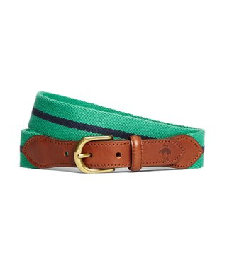 Brooks Brothers Red Fleece Green Naval Striped Belt