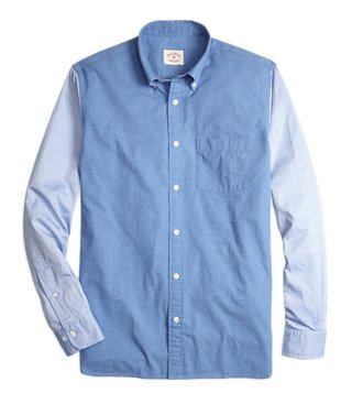 Brooks Brothers Red Fleece Chambray Color Block Sport Shirt