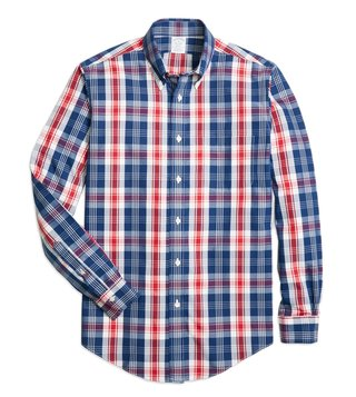 Brooks Brothers NI Reg Blue & Red Bold Plaid Sport Shirt