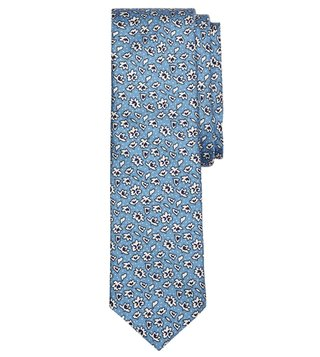 Brooks Brothers Red Fleece Blue Ditsy Floral Silk Tie