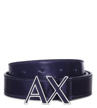 Armani Exchange Navy Metallic Belt