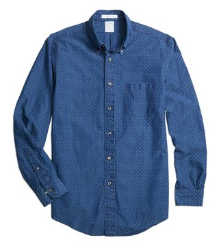 Brooks Brothers Reg Blue Dyed Diamond Sport Shirt