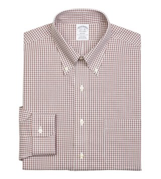 Brooks Brothers Orange NI Regent Fit Twin Checks Dress Shirt