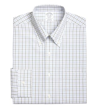 Brooks Brothers Green Non-Iron Regent Fit Checks Dress Shirt