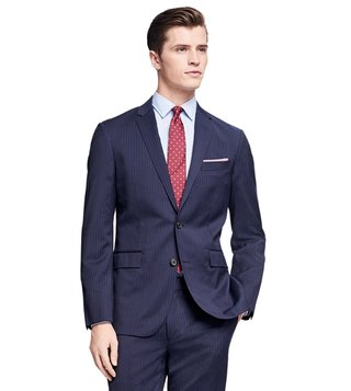 Brooks Brothers Red Fleece Navy Pinstriped Wool Suit Jacket