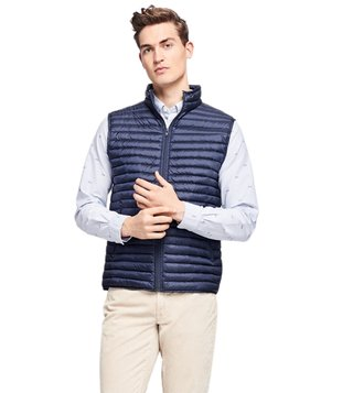 Brooks Brothers Red Fleece Navy Channel Quilted Down Vest