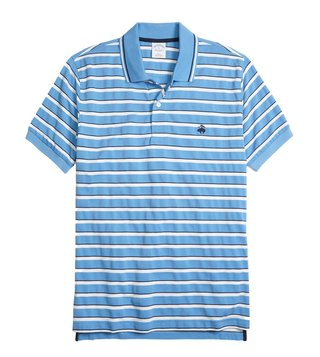 Brooks Brothers Blue Slim Fit Striped Polo T Shirt
