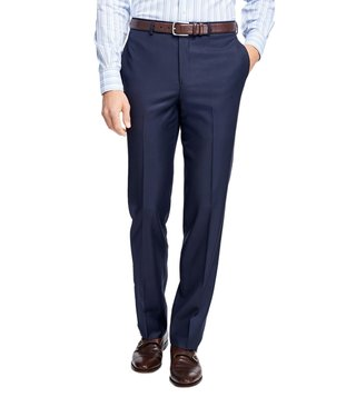 Brooks Brothers Navy Regent Fit Stretch Wool Trousers