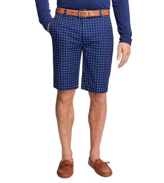 Brooks Brothers Navy Diamond Print Bermuda Shorts
